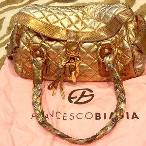 Handbags - Francesco Biasia metallic matte gold handbag